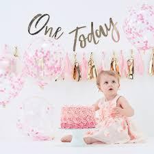 Ginger Ray Baby Girl 1st Birthday Cake Smash Kit 15pc Party City