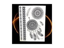 Voděodolné Dočasné Tetování Motiv Mandala černá