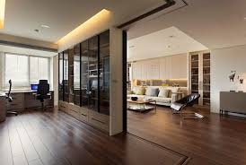 office and home. Office, Home Office With Beautiful Cherry Wooden Lamiante Flooring Glass Curtain Walls White Sofa Cushions And