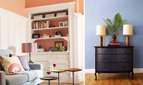 Balance out plain walls with fabric-lined bookshelves and bright  accessories. (Pro tip