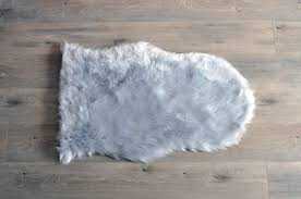 Faux sheepskin rugs Accent Kroma Carpets Machine Washable Faux Sheepskin Light Grey Area Rug Kroma Carpets