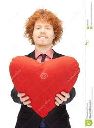 Man Shaped Pillow Handsome Man With Red Heart Shaped Pillow Stock Photo Image