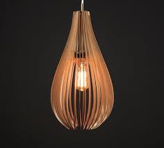 Light Drop Lasercut Chandelier Lamp Handmade Plywood Hanging
