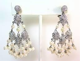 18k white gold 2ct diamond pearl waterfall chandelier earrings