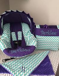 minky infant car seat cover best covers images on baby seats the go set with chevron purple visor and diaper bag wit