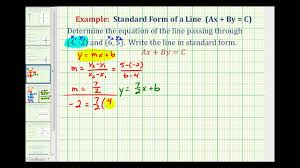 ex 2 find the equation of a line in standard form given two points
