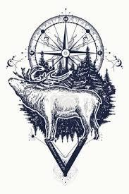 Vektorová Grafika Tetování Se Soby A Kompas Jeleni A Kompasu