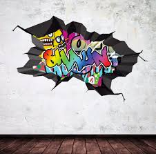 personalized name full color graffiti wall decals cracked 3d wall sticker mural on wall art street names with personalized name full color graffiti wall decals by mysticky on