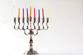hanukkah menorah first day of hanukkah stock photo