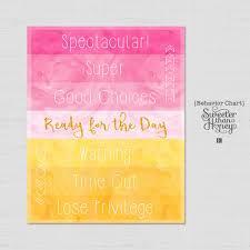 Printable Behavior Chart Princess Watercolor Diy Kids