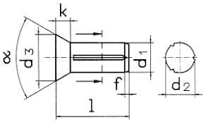 DIN 1477 <b>Штифт с потайной</b> головкой, насечённый по всей длине.