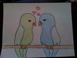 Cute Love Birds Drawings Drawing Litle Pups