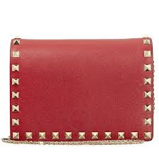 valentino rockstud leather pouch rosso item no pw2p0249bol 0ro