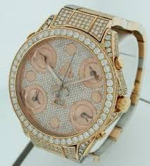jacob amp co 5 time zone date all diamond 47mm 18k rose image is loading jacob amp co 5 time zone date