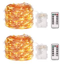 Dimmable Christmas Lights Wihoo Christmas Lights String Lights Dimmable With Remote Control 16ft 50 Led 2 Pack Lights For Christmas Parties Patio And Garden Copper Wire
