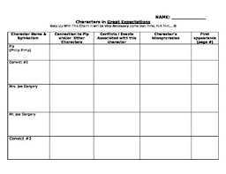 Character Chart For Great Expectations