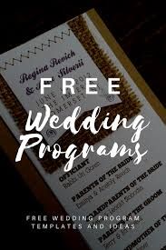 free able wedding program templates