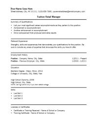 Fashion Retail Manager Resume Template Retail Management Resume ... fashion retail manager resume template : retail management resume template