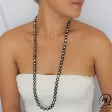 tahitian pearl necklace baroque 10 10 9 mm