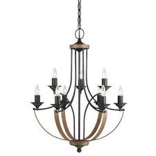 w 9 light weathered gray and distressed oak multi tier chandelier