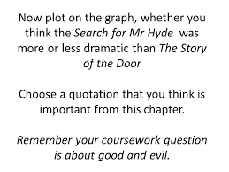 in his novel the strange case of dr jekyll and mr hyde how does  now plot on the graph whether you think the search for mr hyde was more