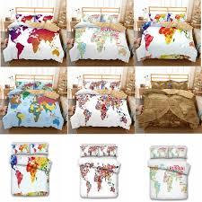 US AU Size <b>Luxury Bedding Set</b> Duvet World <b>Map</b> Printed Bed ...