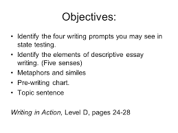 senses writing objectives identify the four writing prompts  5 senses writing 2 objectives