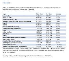 new employee orientation schedule orientation schedule for new employees barca fontanacountryinn com