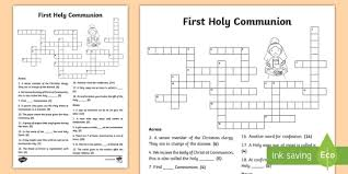 first holy communion crossword confession first communion resources irish