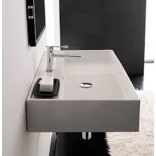 bathroom sink scarabeo 8031 r 60 rectangular white ceramic wall mounted or