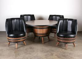 whiskey barrel chairs vintage whiskey barrel dining set with table 4 black vinyl chairs whiskey barrel