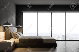 Bedroom side view Twin Bed Side View Of Modern Bedroom With Gray Walls Concrete Floor Double 123rfcom Side View Of Modern Bedroom With Gray Walls Concrete Floor