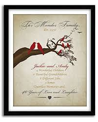 40th wedding anniversary gift personalized family tree lovebirds