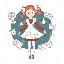 ロシアの学校の制服でかわいい小さな女子高生手描きイラストは白い背景
