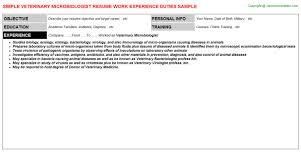 Veterinary Resumes Veterinary Microbiologist Job Resumes