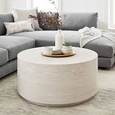 volume round drum coffee table wood