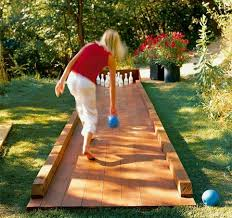 DIY Backyard Bowling Alley -- fun idea for Cadettes earning their  Woodworker and/or