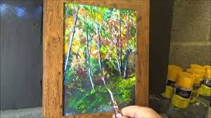 beginners knife painting with acrylic paint tutorial painting trees with a palette knife