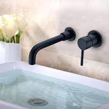 wall faucet matte black brass wall mounted basin faucet single handle mixer tap hot cold water