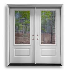 Pre-Hung Fiberglass Double Doors - 3QTR Clear - Primed White: Home ...