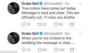 drake & josh star josh peck is spammed by drake bell fans daily Not Invited To Wedding Hurt ouch 'true colors have come out today message is loud and clear not invited to wedding but bridal shower