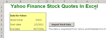 Stock Quotes Yahoo Stunning Get Yahoo Finance Stock Quotes In Excel Finance Train
