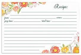 Recipe Cards Print Amazon Com Jot Mark Recipe Cards Autumn Floral Print Double