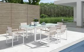 modern outdoor patio furniture. Fantastic Modern Outdoor Patio Dining Sets Furniture With Wooden Horizontal Fence Also Concrete White Flooring