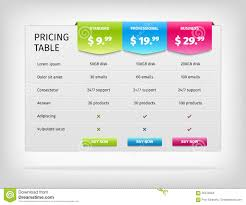 Pricing Table Templates Vector Colorful Pricing Table Template For Stock Vector