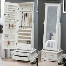 large floor standing cheval mirror white jewelry armoire