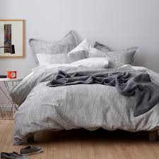 cstudio home by the company breaker charcoal ivory organic king duvet cover