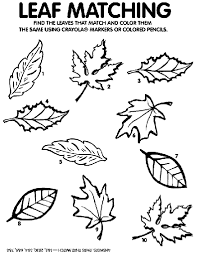 Small Picture Leaf Matching Game Coloring Page crayolacom