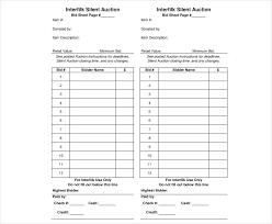 Sample Bid Sheets For Silent Auction Bid Sheet Templates Examples Of Silent Auction Sheets Sample
