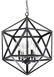 multangular iron 4 light glass shade cage chandelier antique black
